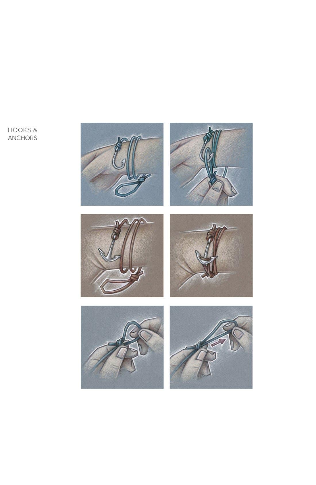 ,                             Gold Anchor Leather Bracelet,                             Alternate thumbnail 3, color,                             001