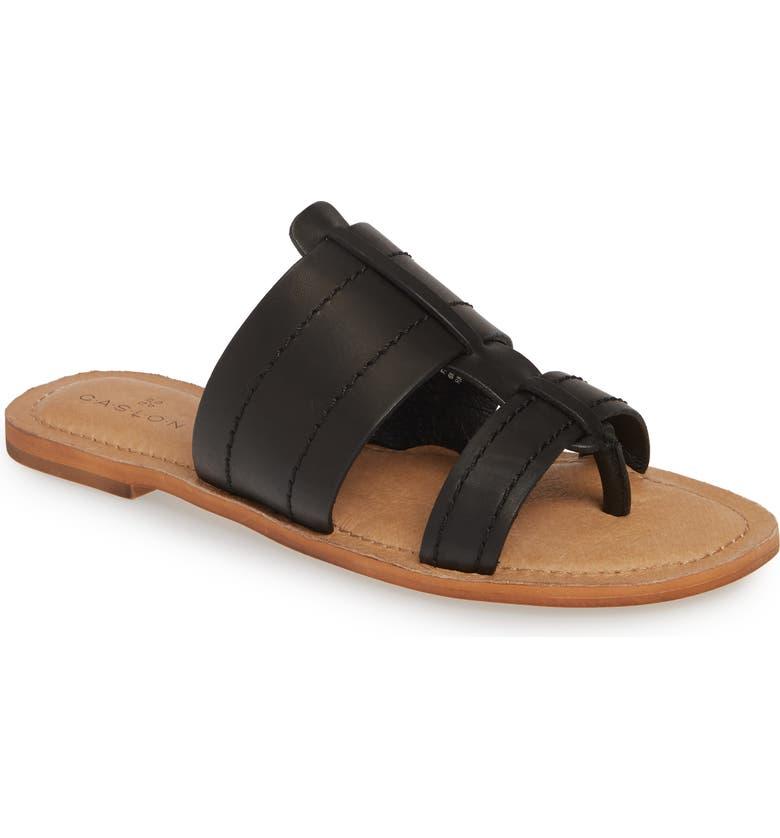 CASLON<SUP>®</SUP> Mateo Slide Sandal, Main, color, BLACK LEATHER