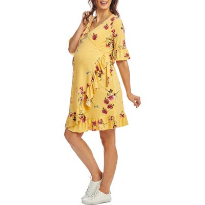 Everly Grey Leilani Maternity/nursing Wrap Dress, Yellow