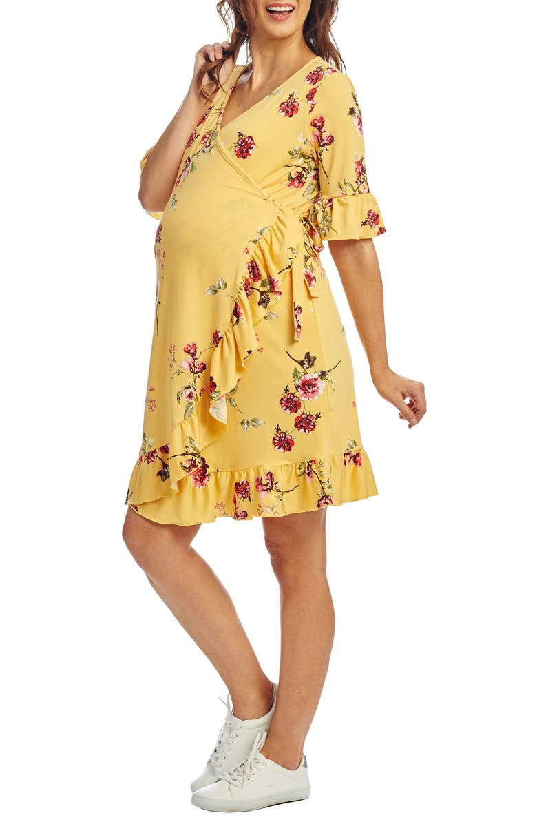 EVERLY GREY Leilani Maternity/Nursing Wrap Dress, Main, color, YELLOW FLORAL