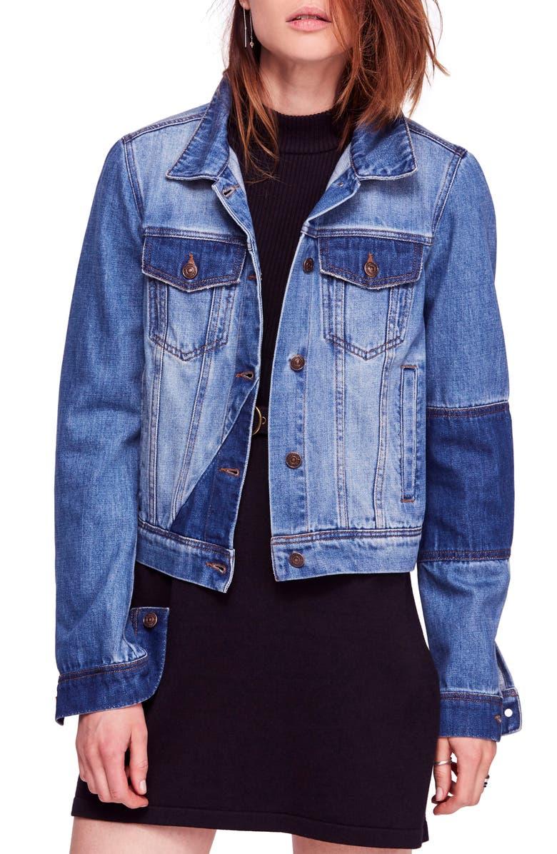 FREE PEOPLE Rumors Denim Jacket, Main, color, NAVY
