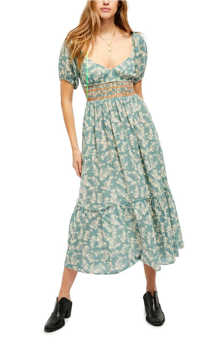 FREE PEOPLE Ellie Print Smocked Midi Dress, Main, color, SOFT SEAFOAM