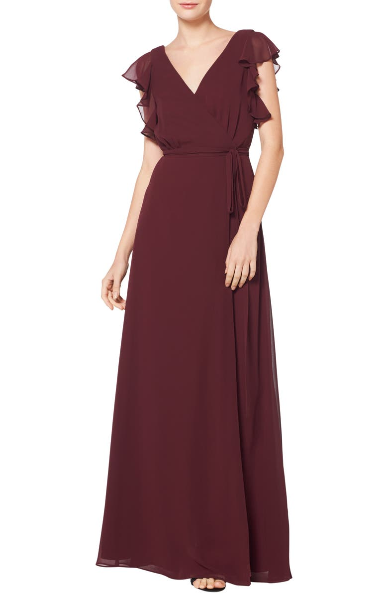 #LEVKOFF Ruffle Sleeve Chiffon Wrap Evening Dress, Main, color, WINE