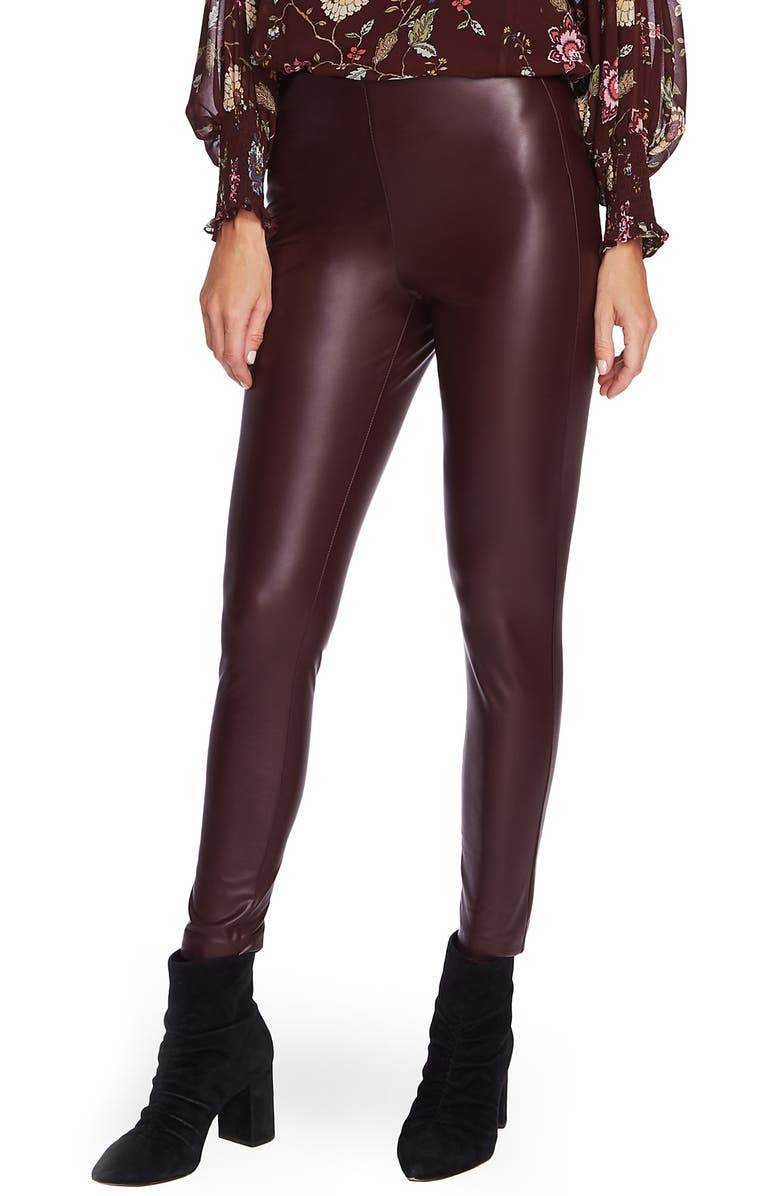VINCE CAMUTO Faux Leather Pants, Main, color, PORT