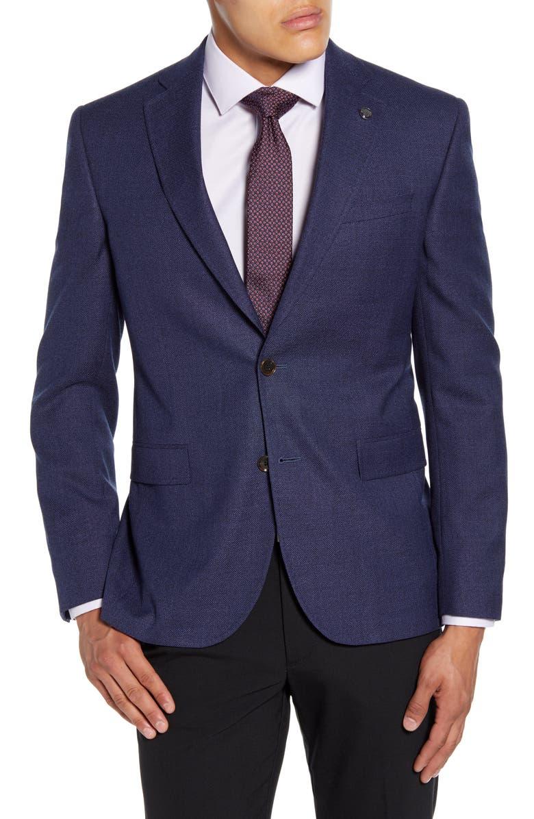 TED BAKER LONDON Roger Trim Fit Solid Wool Blazer, Main, color, BLUE