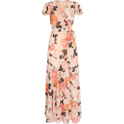 Petite Eliza J Faux Wrap Maxi Dress, Pink