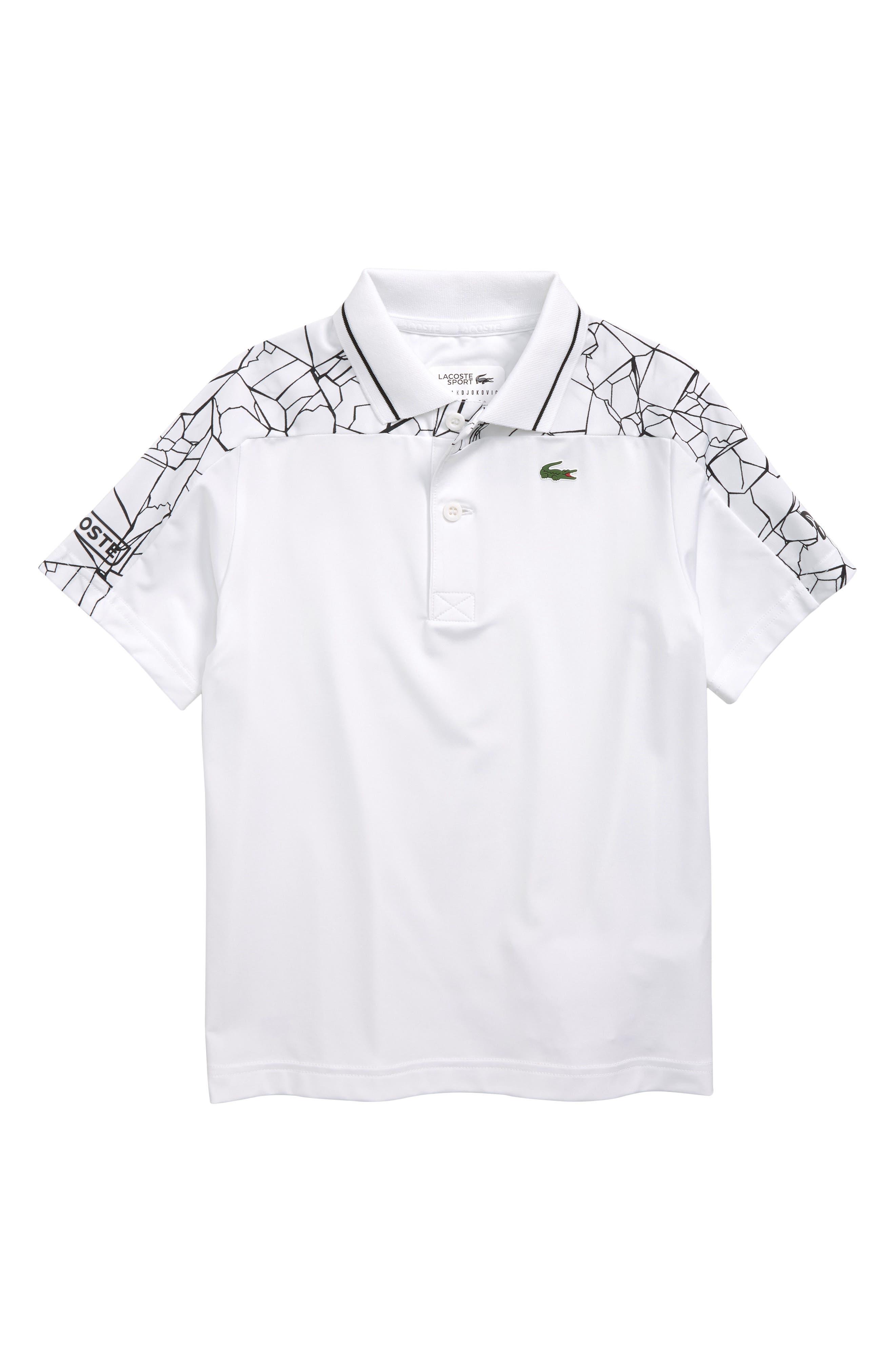 Boys Lacoste Djoko Shoulders Print Polo Size 4Y  Black