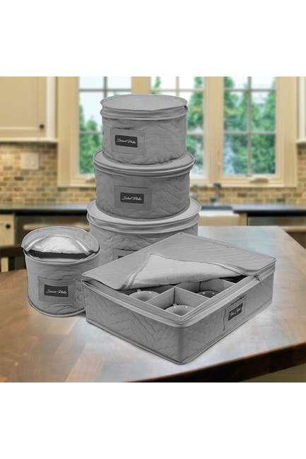 Image of Sorbus Dinnerware Storage 5-Piece Set - Grey