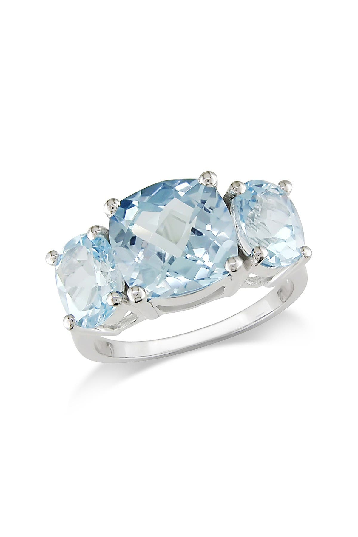 Image of Delmar Sterling Silver Cushion Sky Blue Topaz 3-Stone Ring