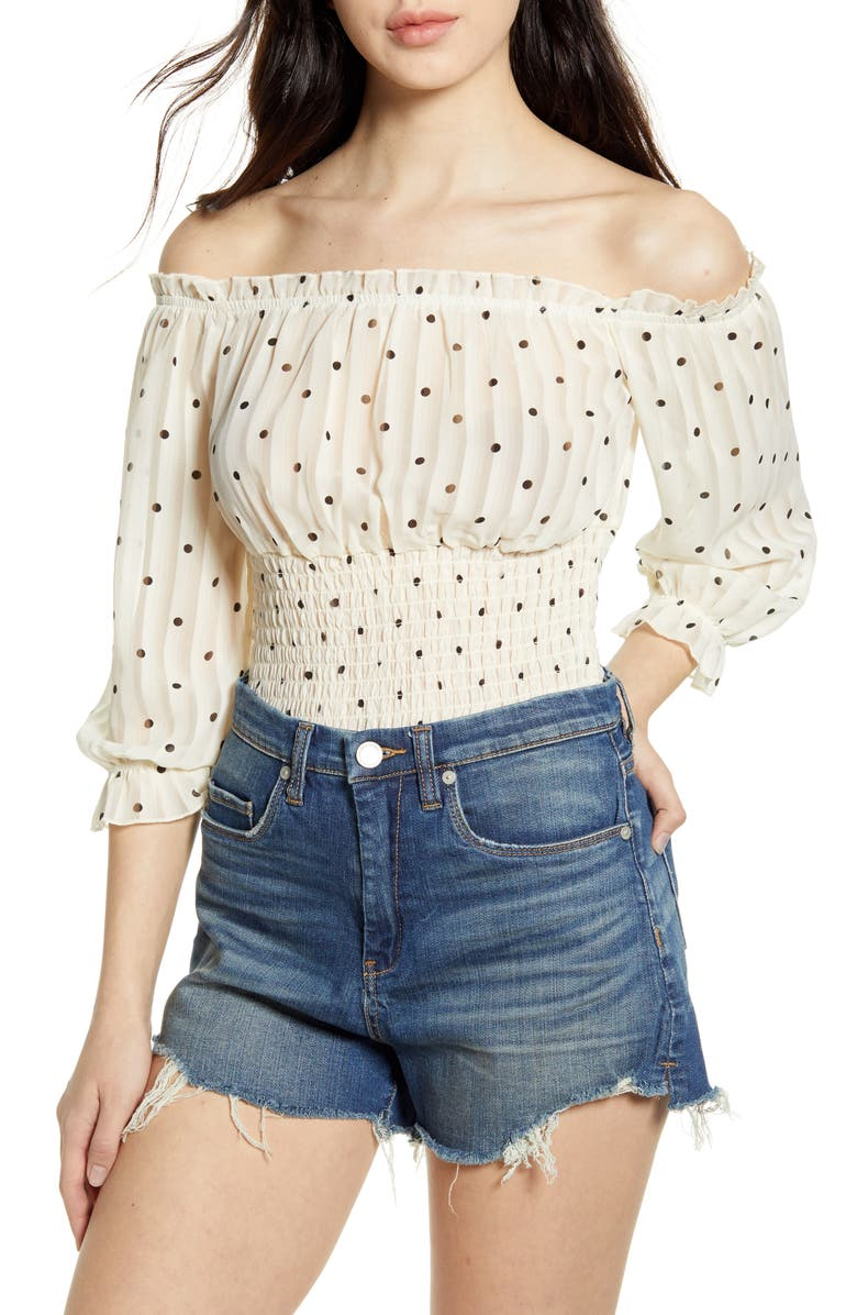 ONE CLOTHING Off the Shoulder Smocked Top, Main, color, 900