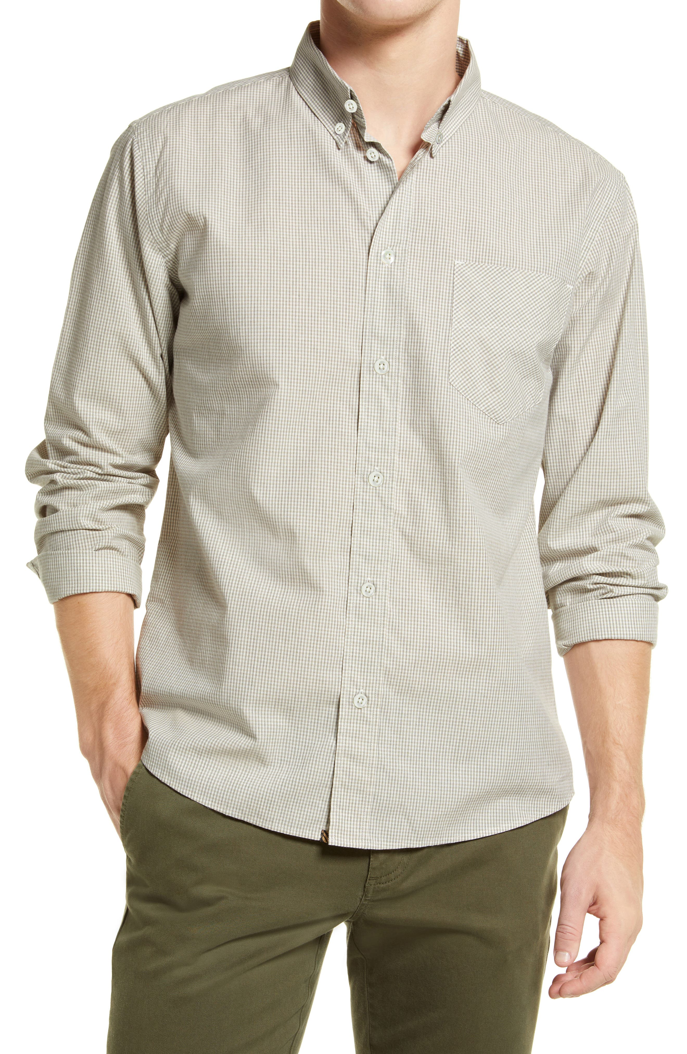 Tuscumbia Standard Fit Microcheck Button-Down Shirt