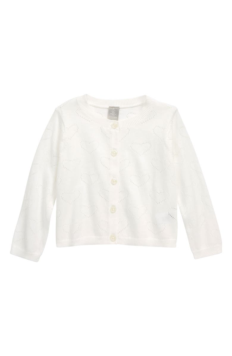 NORDSTROM Pointelle Cardigan, Main, color, WHITE HEARTS