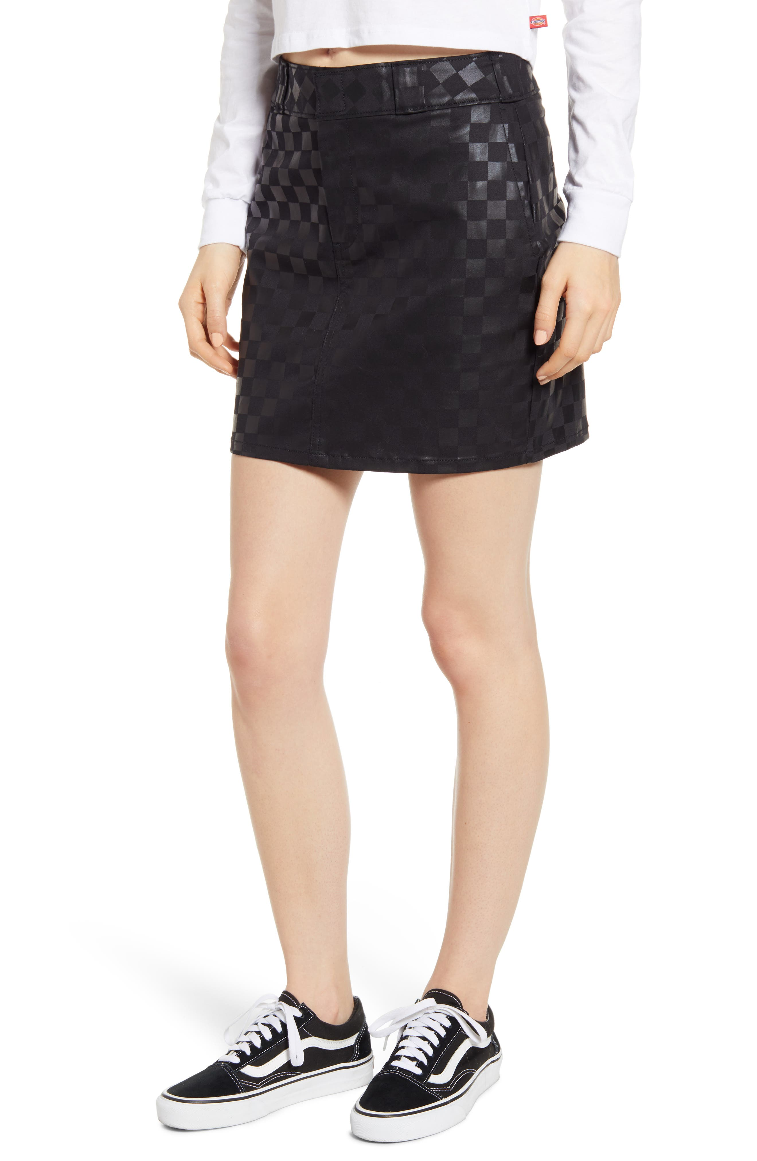 Dickies Check Print Work Skirt, Black