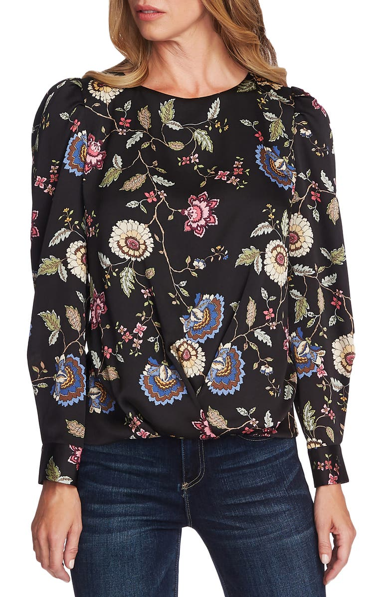 VINCE CAMUTO Floral Puff Sleeve Top, Main, color, RICH BLACK