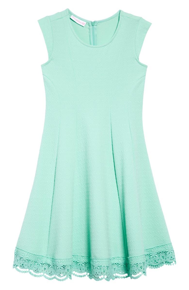 IRIS & IVY Sleeveless Lace Hem Dress, Main, color, MINT