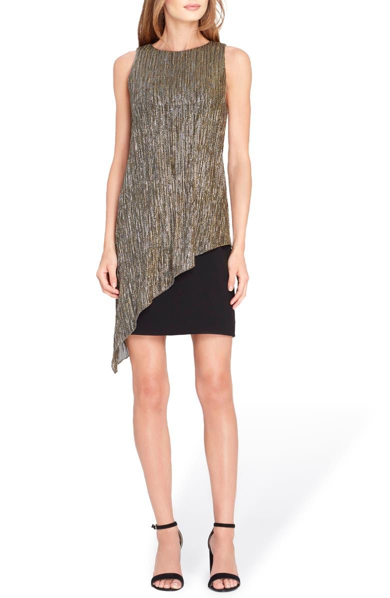 TAHARI Metallic Overlay Sheath Dress, Main, color, 015