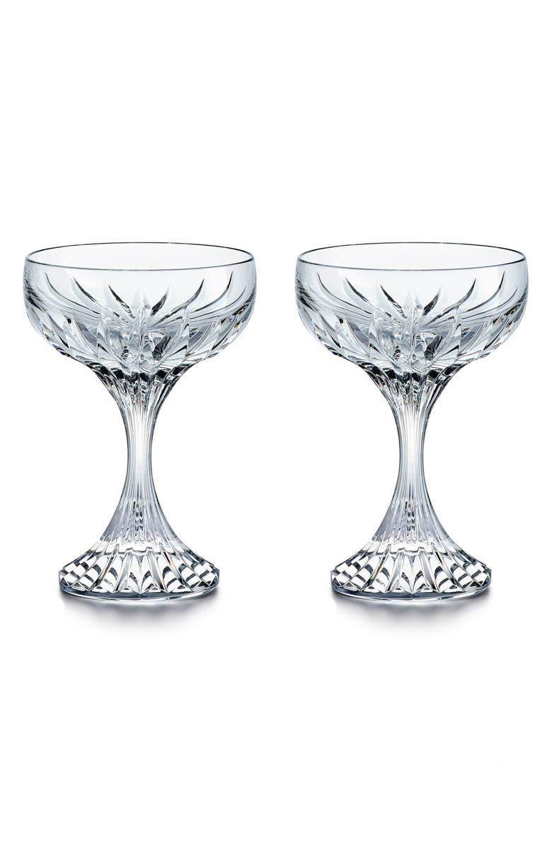 BACCARAT Massena Set of 2 Lead Crystal Coupe Glasses, Main, color, CLEAR
