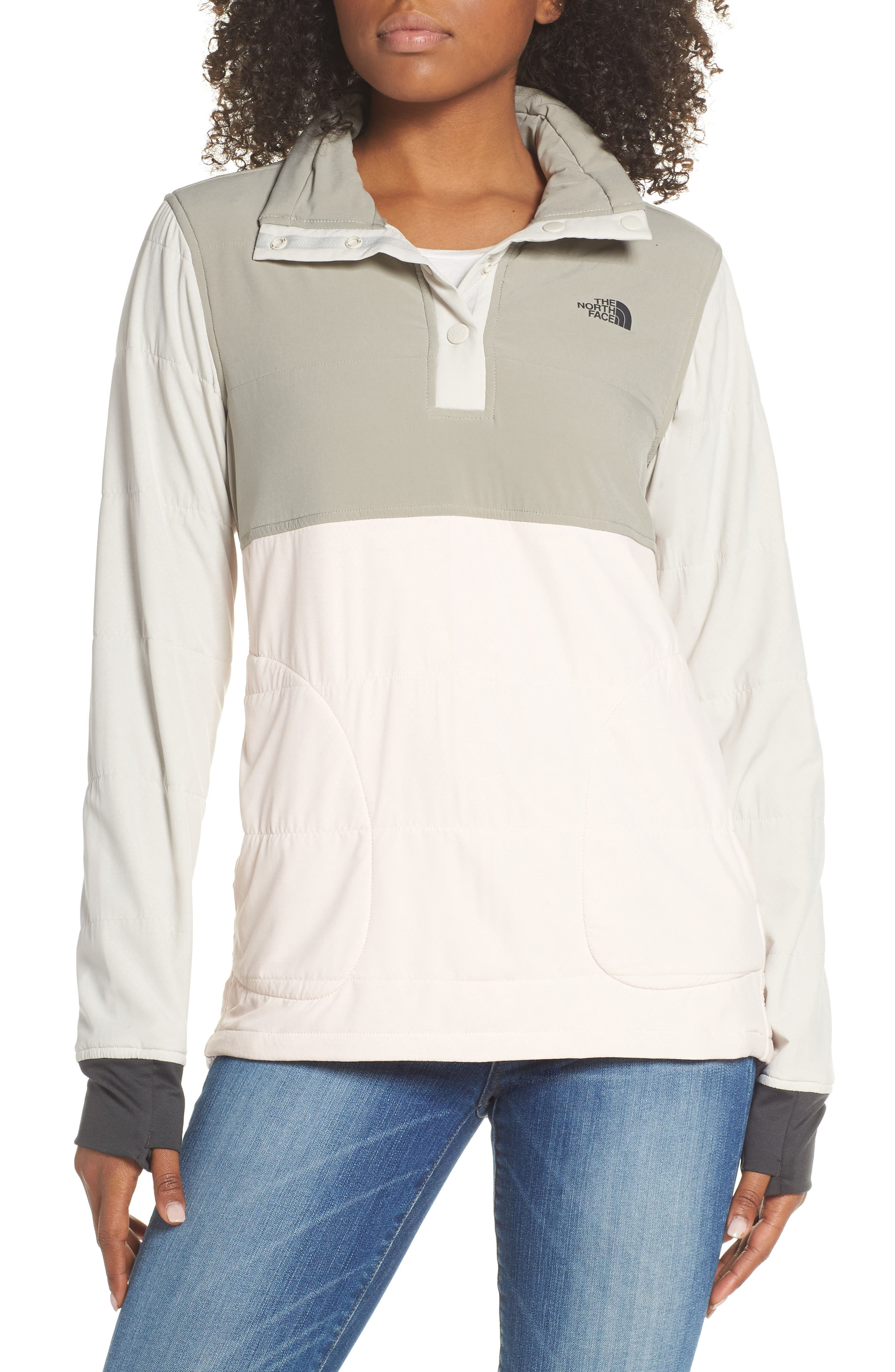 The North Face Mountain Insulated Snap Pullover Jacket, Pink