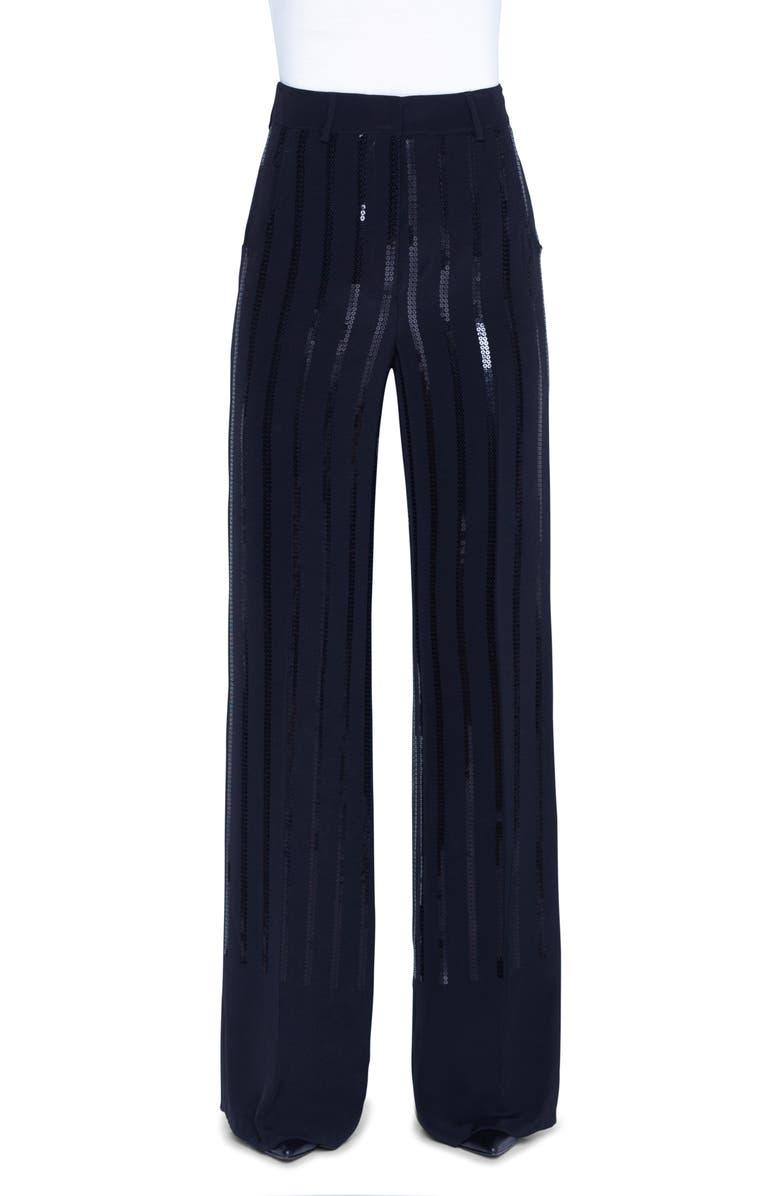 AKRIS Floyd Sequin Stripe Silk Blend Wide Leg Pants, Main, color, BLACK