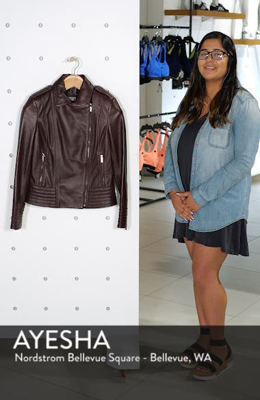 Badgley Mischka Gia Leather Biker Jacket, sales video thumbnail
