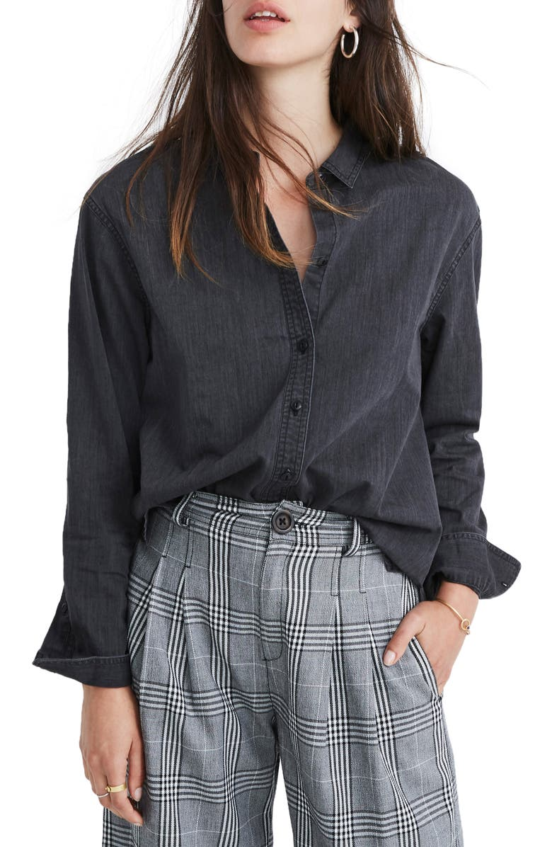 MADEWELL Oversized Ex-Boyfriend Shirt, Main, color, LUNAR WASH