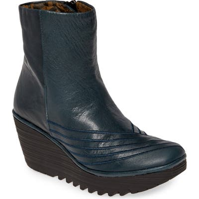 Fly London Yeni Platform Wedge Bootie, Blue