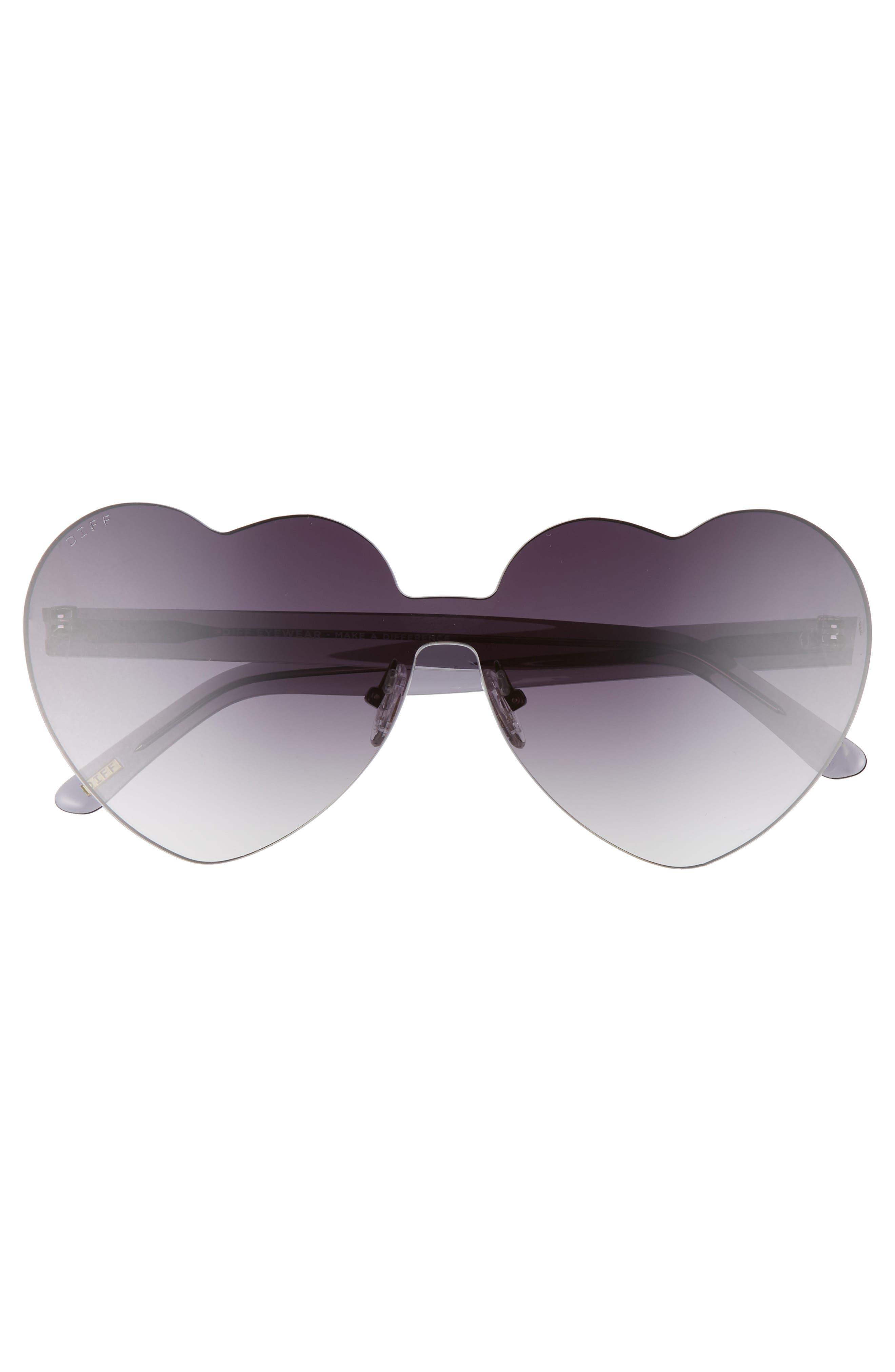 ,                             Rio 64mm Heart Shaped Sunglasses,                             Alternate thumbnail 3, color,                             BLACK/ SMOKE GREY
