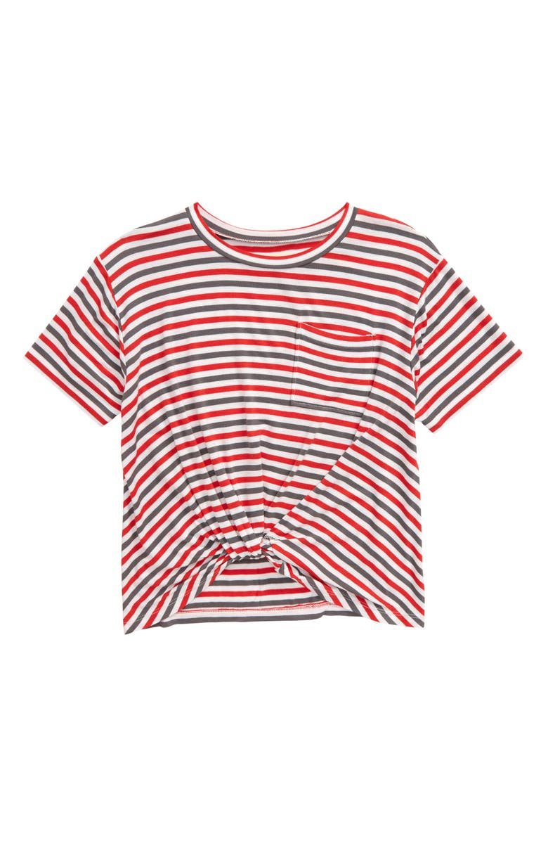 TUCKER + TATE Knot Front Tee, Main, color, RED BLOOM MULTI STRIPE