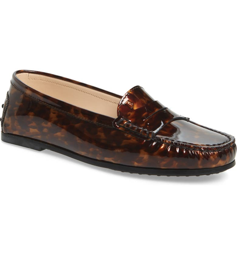 TOD'S New City Gommini Driving Moccasin, Main, color, TORTOISE