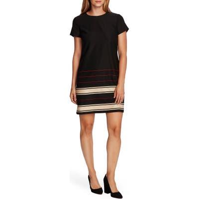 Vince Camuto Linear Plains Border Stripe Twill Dress, Black