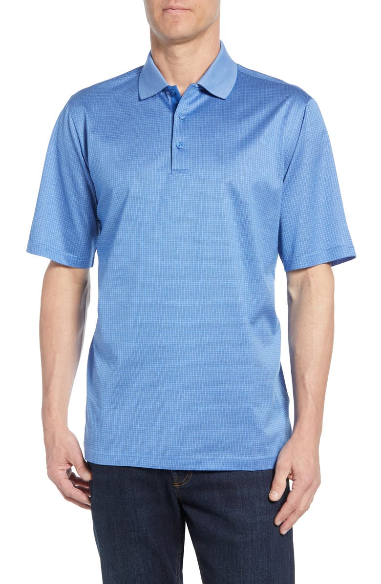 BUGATCHI Microcheck Performance Polo, Main, color, AIR BLUE