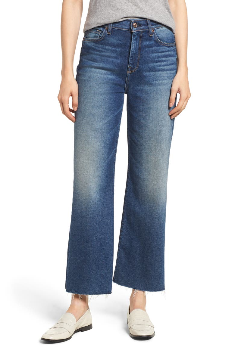 7 FOR ALL MANKIND<SUP>®</SUP> Alexa Frayed Hem Crop Wide Leg Jeans, Main, color, LUXE VINTAGE FEMME