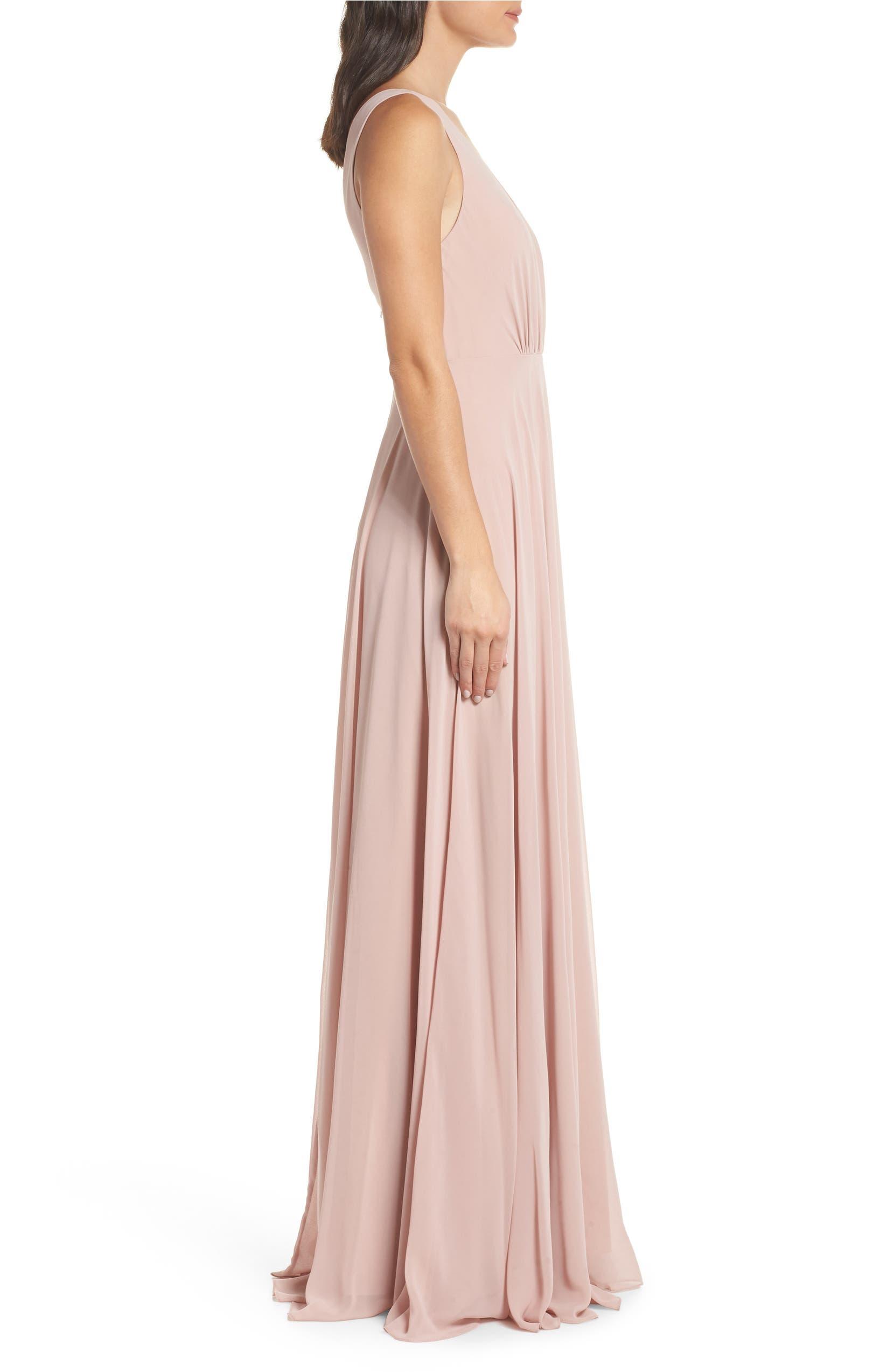 58bef1d803a Jenny Yoo Ryan Illusion Neck Chiffon Gown