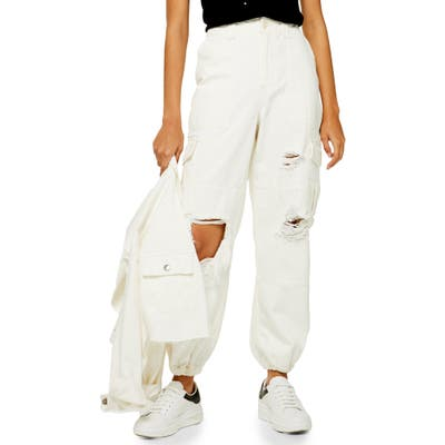 Topshop Distressed Cuffed Utility Cargo Pants, US (fits like 0) - Ivory
