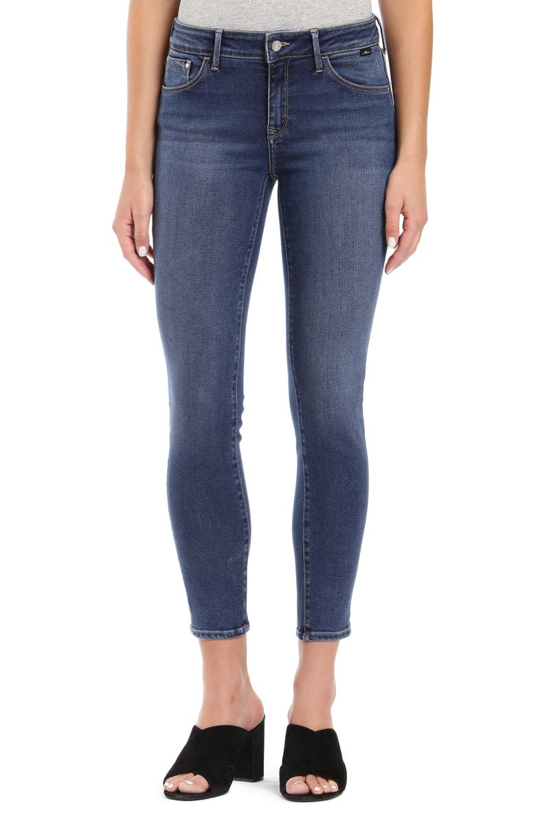 MAVI JEANS Adriana SuperSoft Ankle Skinny Jeans, Main, color, MID INDIGO SUPERSOFT