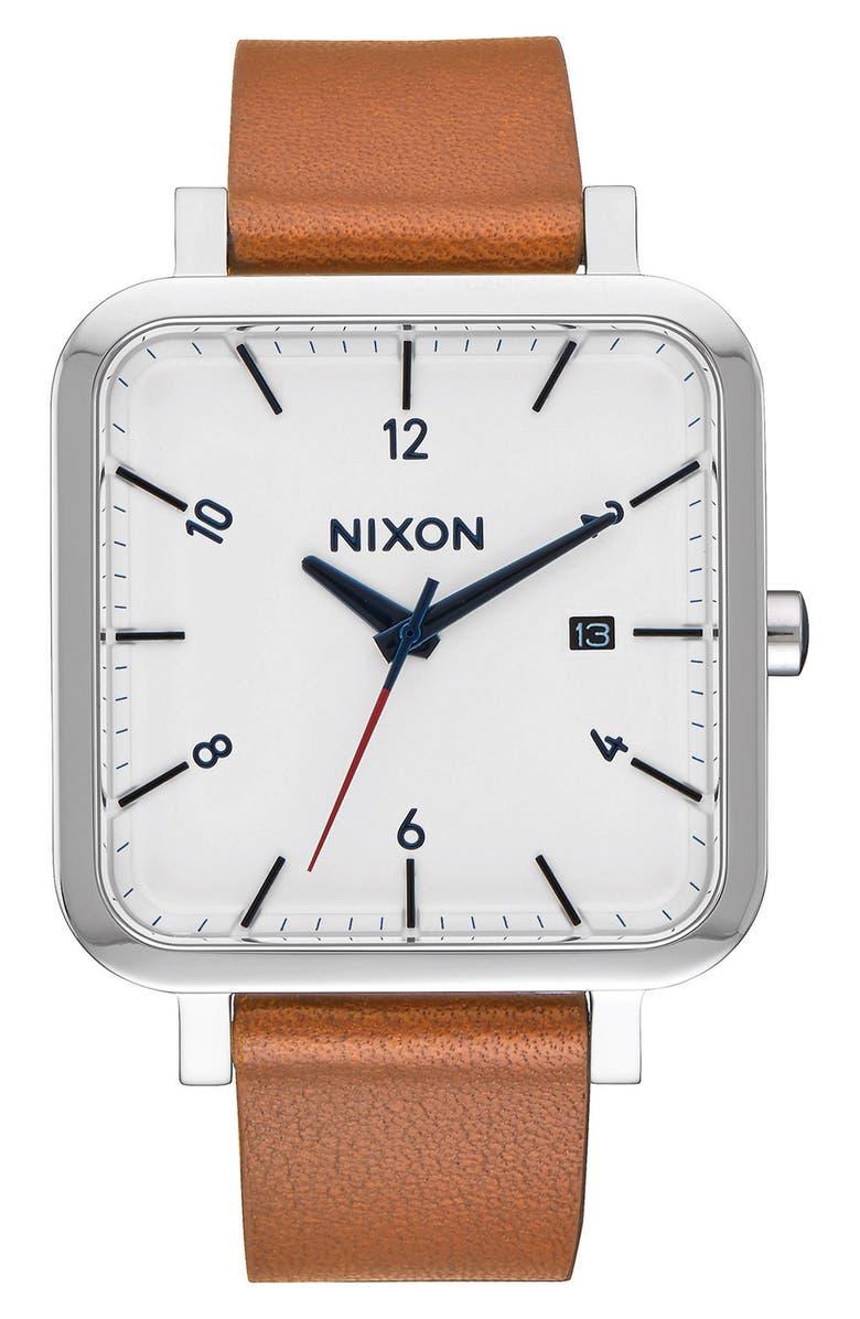 NIXON Ragnar Square Leather Strap Watch, 36mm, Main, color, 202