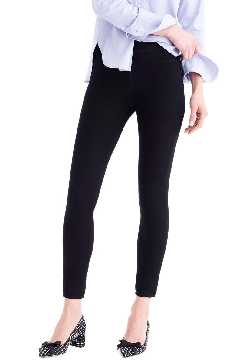 J.CREW Pull-On Toothpick Black Skinny Jeans, Main, color, 010