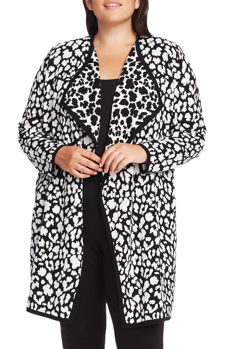 VINCE CAMUTO Cheetah Pattern Drape Front Cardigan, Main, color, RICH BLACK