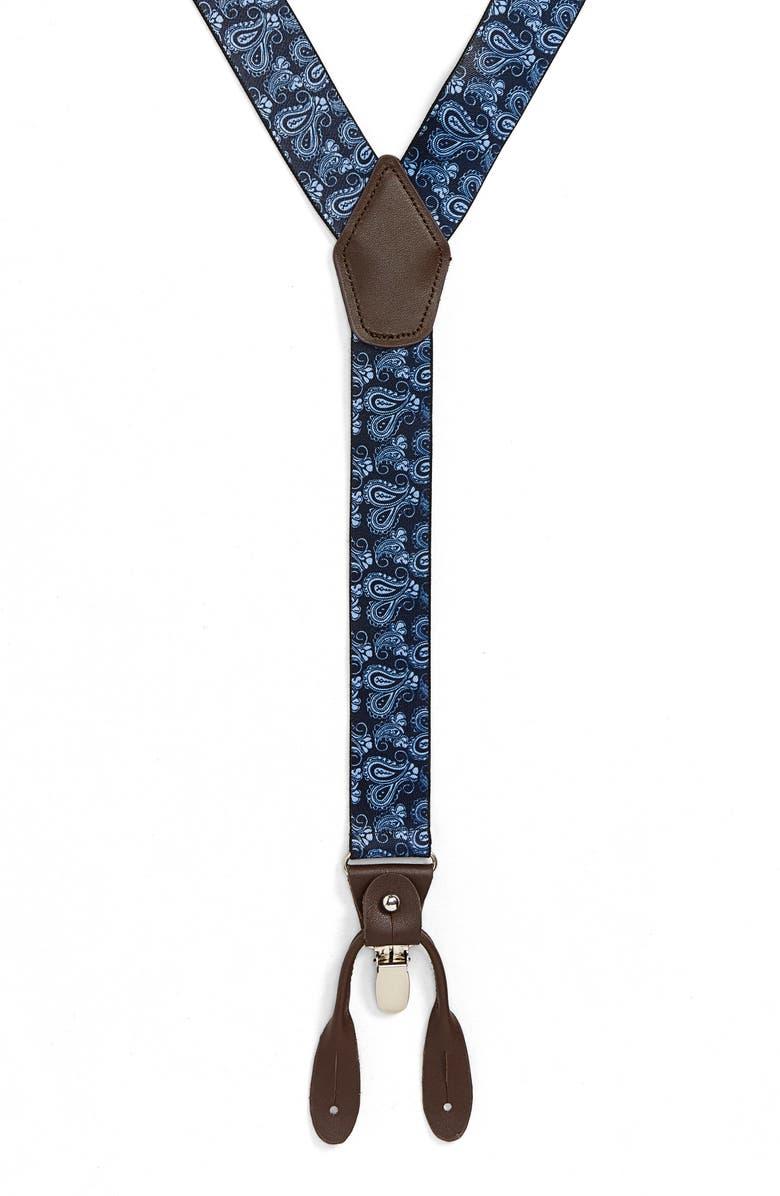 NORDSTROM MEN'S SHOP Paisley Suspenders, Main, color, NAVY/ BLUE