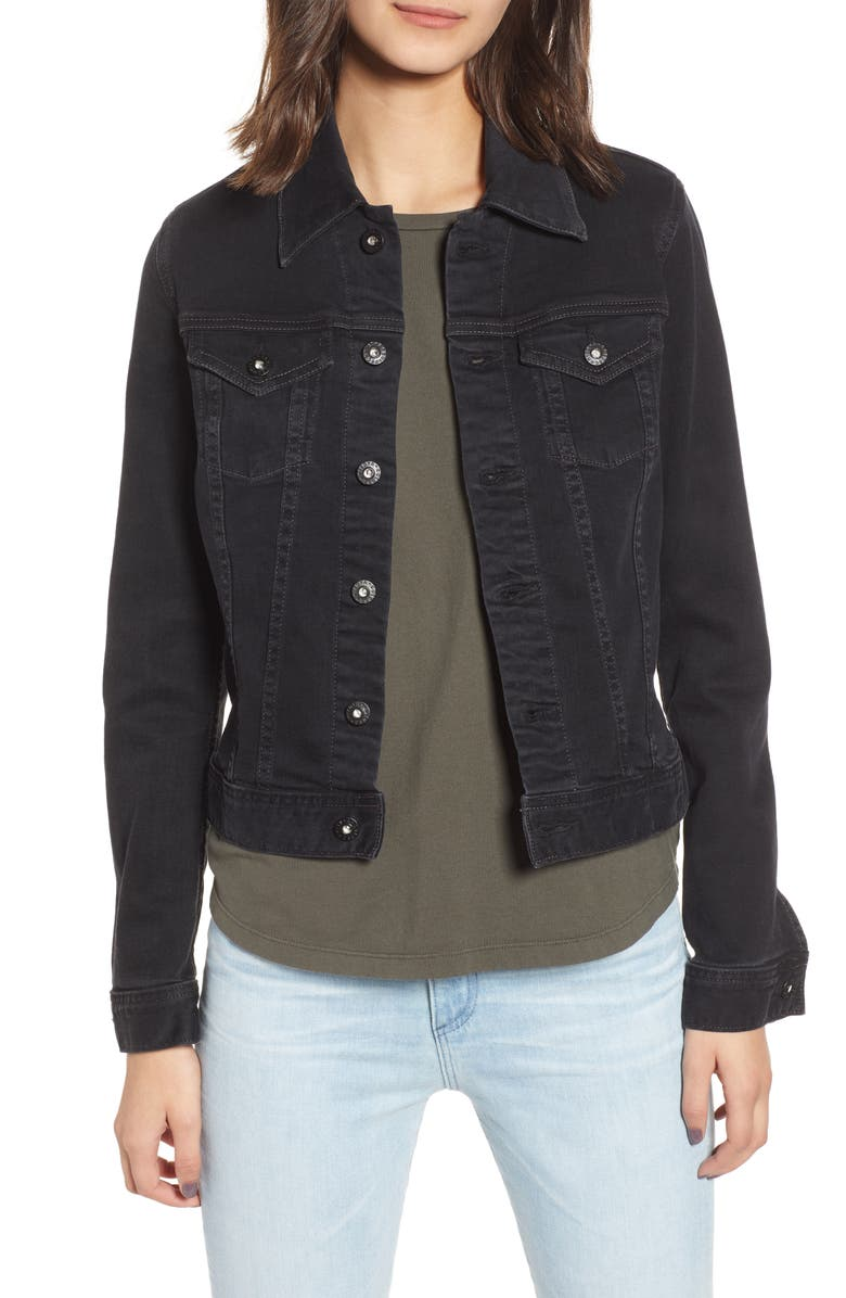 AG Robyn Crop Denim Jacket, Main, color, DUSTED UMBRIA
