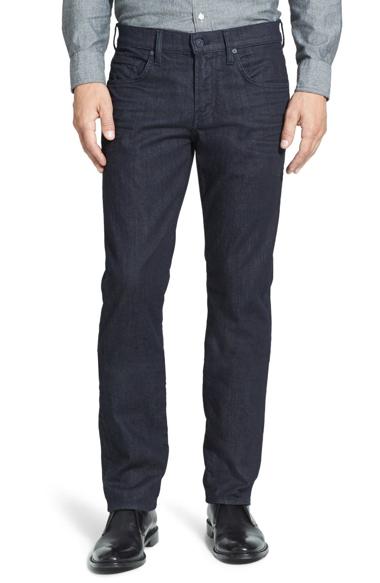 7 FOR ALL MANKIND<SUP>®</SUP> The Straight Luxe Performance Slim Straight Leg Jeans, Main, color, DEEP WELL