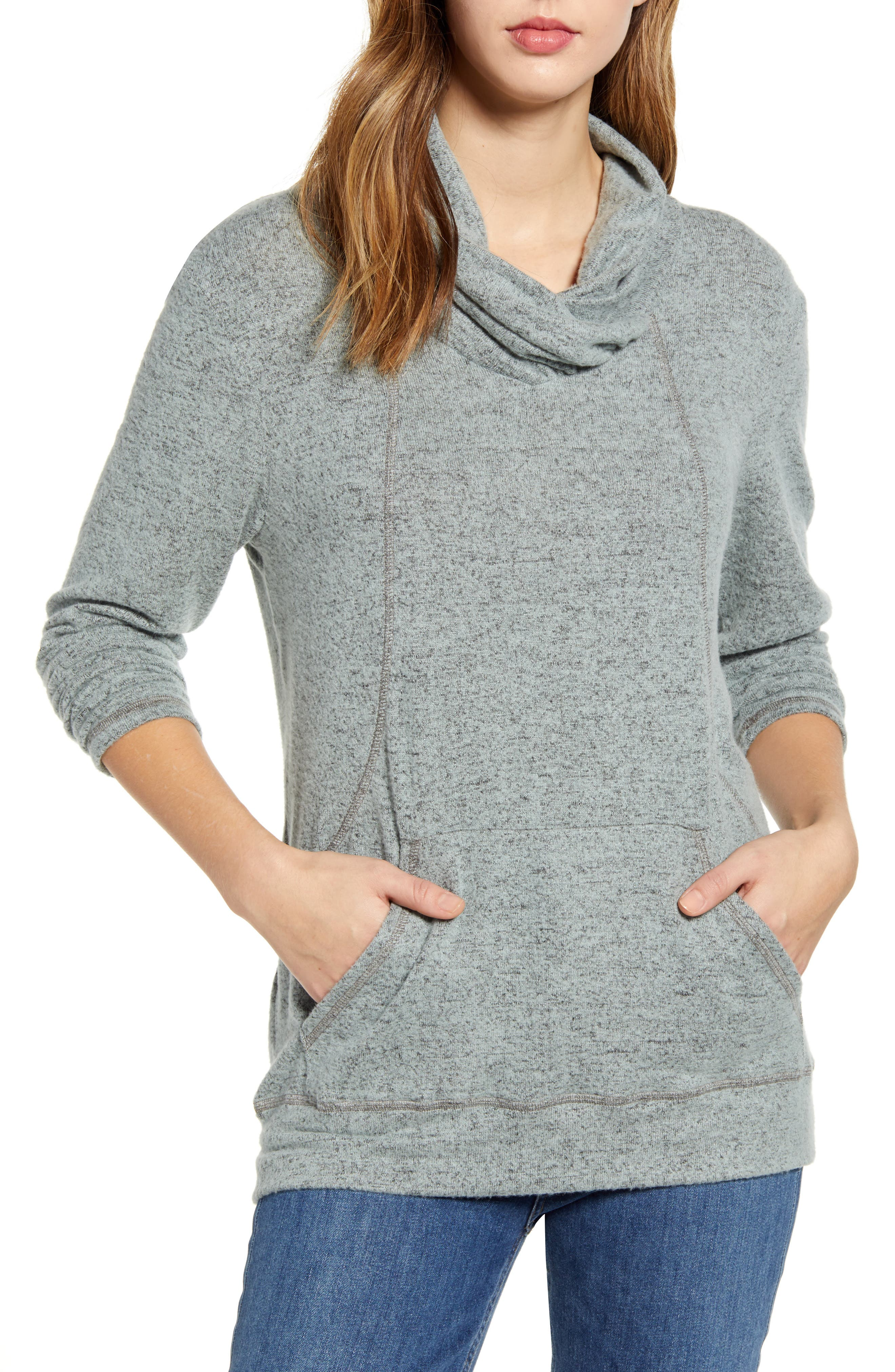 Make it an off-duty day in this cozy brushed pullover, styled with a twisted cowl neck and handy kangaroo pocket. Style Name: Loveappella Cross Neck Seamed Pullover. Style Number: 5942361. Available in stores.