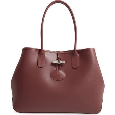 Longchamp Roseau Leather Shoulder Tote - Burgundy
