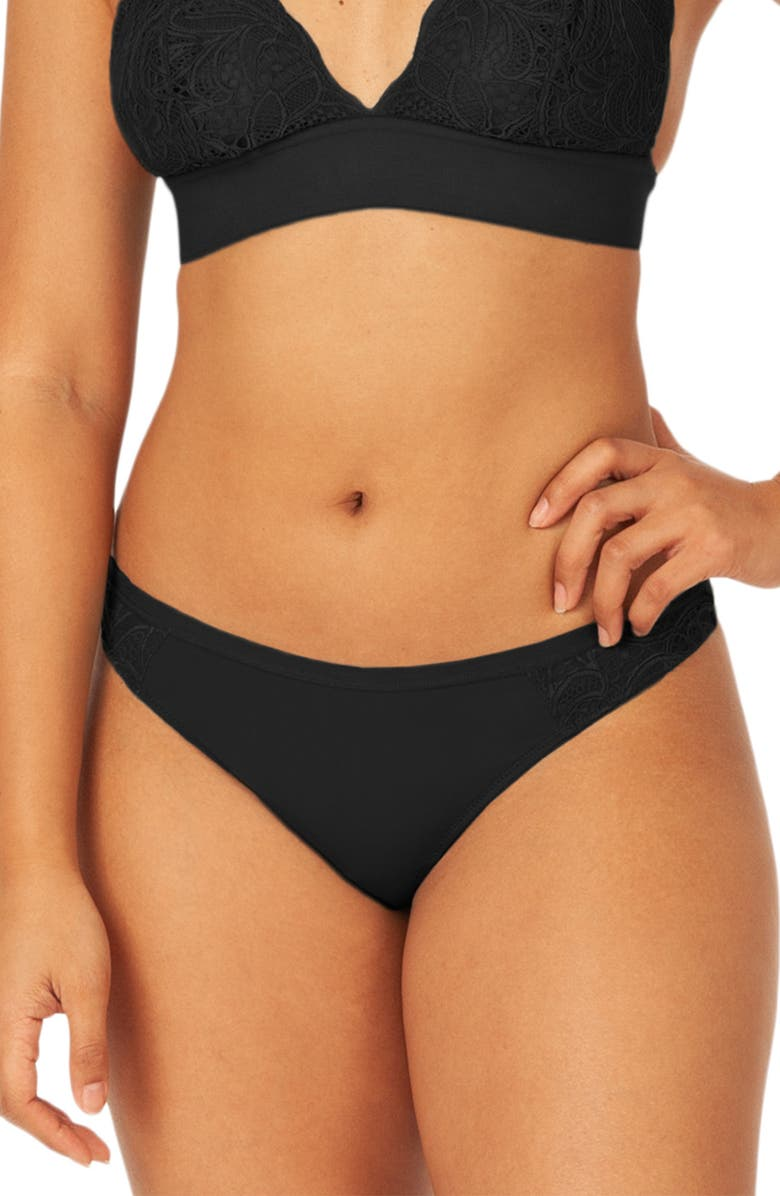 LIVELY The Palm Lace Thong, Main, color, JET BLACK