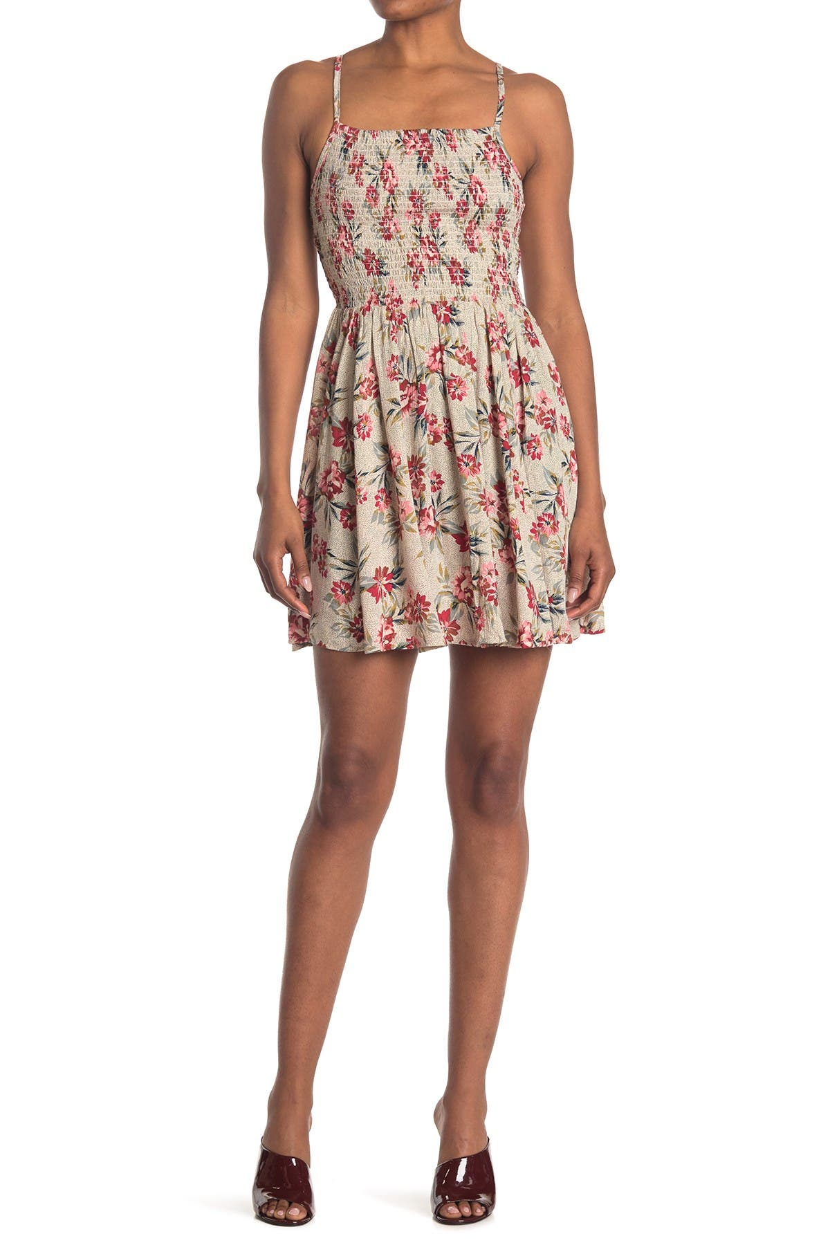 Image of Angie Smocked Floral Print Dress