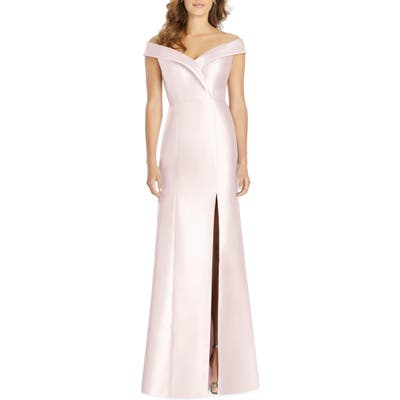 Alfred Sung Portrait Collar Satin Gown, Pink