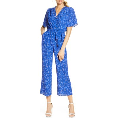 Fraiche By J Domi Surplice Neck Jumpsuit, Blue
