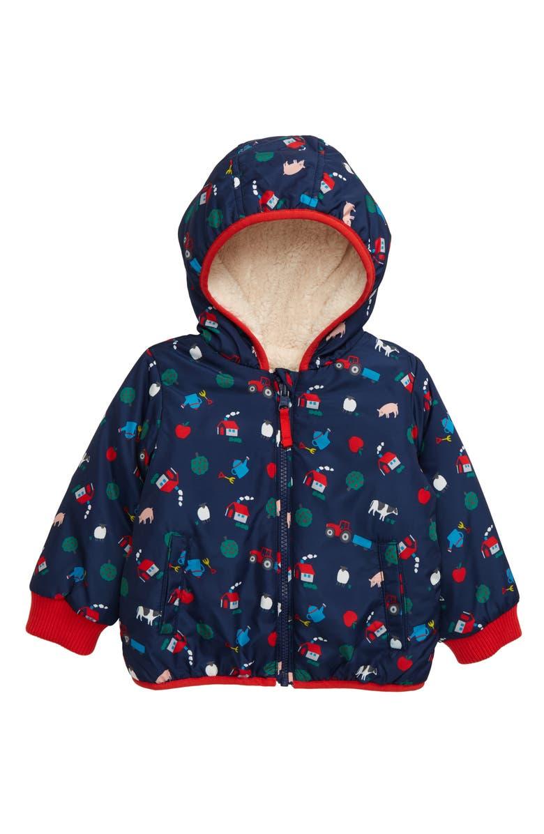 MINI BODEN Farmyard Reversible Hooded Jacket, Main, color, COLLEGE BLUE/ FARM