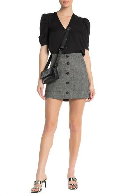 Image of VERONICA BEARD Fisher Button Down Chevron Skirt