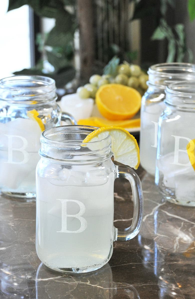 CATHY'S CONCEPTS Monogram Glass Drinking Jars, Main, color, 961